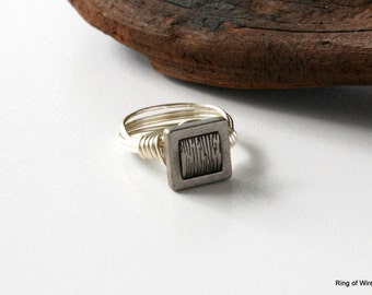 Square Silver Ring, Silver Button Ring, Wire Wrapped Ring, Silver Wire Ring, Minimalist Ring, Button Jewelry, Textured Square Ring