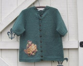 Boho sweater, green knitted, wool cardigan, M-L, cardigan sweater, Eco clothing by Shaby Vintage