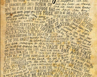 The Eagles Lyrics and Quotes - 8x10 handdrawn and handlettered print on antiqued paper rock music lyrics