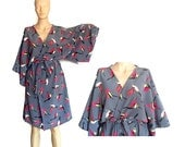 BIRDS kimono crossover robe,  Bridesmaids robe, spa robe, beach cover up, dressing up robe, maternity, bride, bridal party