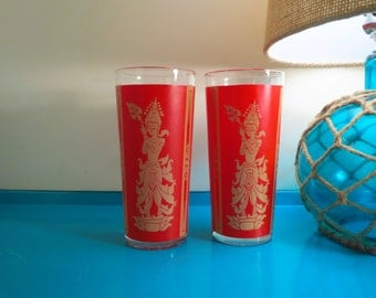 Vintage 1960s Pair Asian Modern Siam Thailand Red Gold Goddess Buddha Drink Glasses - 2ct