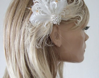 """Bridal White Cream Goose Nagoire and Peacock Feathers + Crystals """"Lena Jnr"""" Fascinator Clip. Prom Bridesmaids Boho Fairytale Rustic Wedding"""
