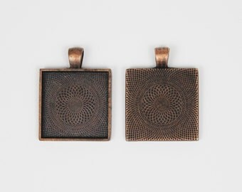 SOJ-053: Set of 20 - 1 inch / 25mm Square Antique Copper Pendant Trays - DIY, pendant kit, 25 mm, necklace supplies, 1 inch, bezel, finding