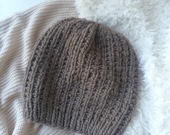 Knit Slouchy Hat, Chunky Knit Beanie / Brown Mocha Beanie / Wool Yarn