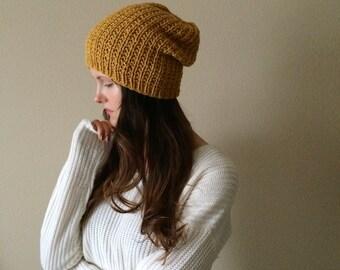 Mustard Knit Slouchy Hat Beanie | Mustard Gold Yellow | Vegan Yarn