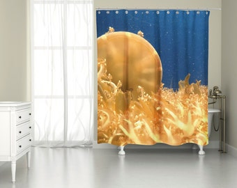 Underwater Sea Life Jellyfish Shower Curtain for Cool Marine Decor