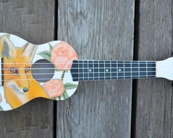 Hand Painted Fox and Peonies Soprano Ukulele