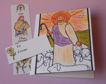 Good Shepherd Card, Jesus Card, Blank Inside, Digital Download, Note Card, Easter Message or No Message on Card Front