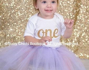 Girls first birthday outfit gold First birthday girl outfit One birthday gold and lavender First birthday tutu outfit
