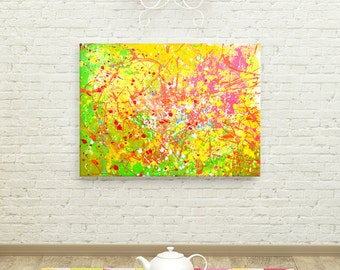 Neon Abstract Painting - Lifted - Extra Large Neon Green, Pink, and Yellow Abstract Painting on Canvas