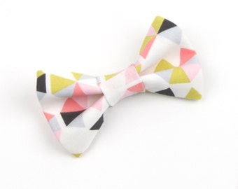 Pink Triangle bow tie, green and pink bow tie, pastel bow tie, easter bow tie, men's bow tie, boys bow tie, adult bow tie, pre-tied bow tie