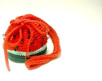 Crocheted Watermelon Drawstring Girl's Bag, crocheted bag, drawstring bag, crocheted bag for girls, beaded bag, crocheted beaded bag