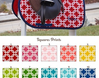 MADE TO ORDER Squares Saddle Pad Many Colors