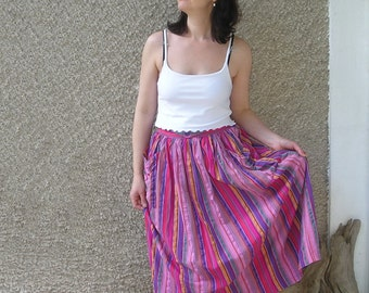Vintage 80s elastic high waisted cotton skirt, size S-M