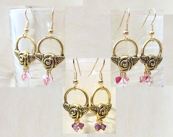 Mother's Day Gift Brass Rose Hoop & Crystal Earrings, Rose Pink Purple Red Clear Crystal Earrings, Handmade Jewelry Ladies Gift Under 15
