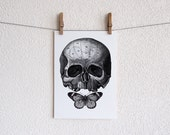 Skull and butterfly- LARGE 13 x 19 inch digital print