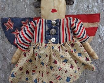 Primitive Americana Angel Doll Door Hanger---PRUDENCE