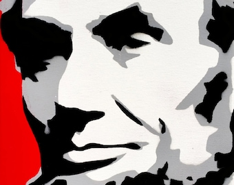 Abraham Lincoln Stencil Art Painting on 12x24 Inch Canvas