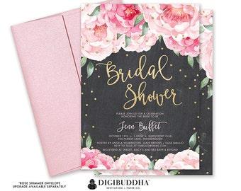 Rustic Bridal Shower Invitation Printable, Floral Bridal Shower Invitation Printable, Rustic Wedding Shower Invite, Chalkboard Invitation