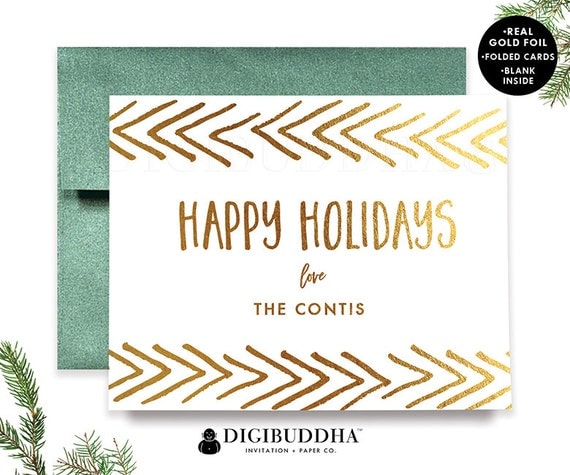 PERSONALIZED CHRISTMAS CARD Set Gold Foil Holiday Cards