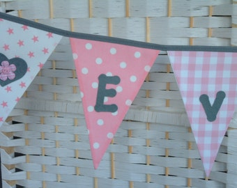Personalised banner, name bunting. Pink & grey. Optional heart applique motifs. Nursery. Christening. Baby. Fabric. Price per flag.