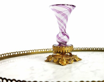 Antique French Ormolu Art Glass Epergne Gilt Repousse Base, Art Nouveau Amethyst Crystal Ribbon Trumpet Vase Ornate Gold Vanity Photo Prop