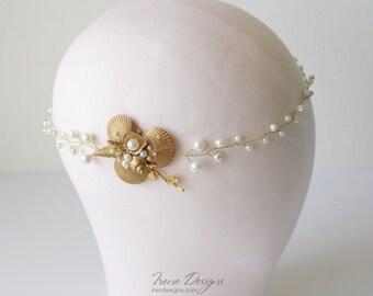 Golden Beach wedding head wreath. Bridal Seashell wreath. Mermaid Head Wreath .Beach Wedding Head Circlet