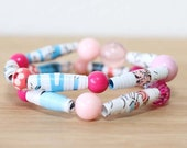 Horton Hears A Who Recycled Paper Bead Bracelet Set, Stacked Bracelet Set Perfect for Teachers, Librarian Gift, Book Lover Jewelry