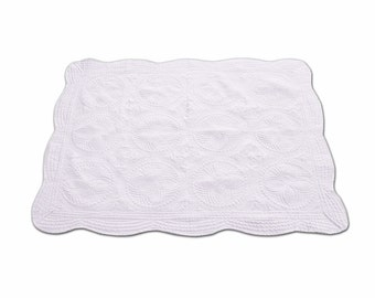 Monogrammed Baby Quilt White - Quilted Heirloom Baby Quilt