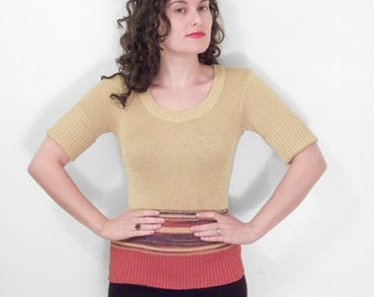 1970s Gold Sweater Ribbed Striped Scoop Neck Violet Cranberry Pine Size S / Med