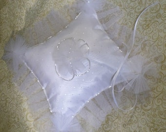 White Pearl and Polk-A-Dot Tulle Ring Pillow Beaded Satin