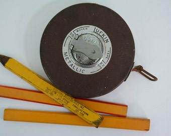 Vintage Lufkin 50ft Metallic Woven Measuring Tape + 3 Free Construction Pencils