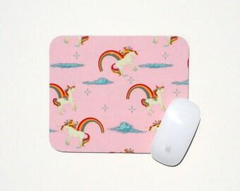 Unicorn Mouse Pad / Rainbow Pink Holiday Gift / Home Office College Dorm Room Desk Decor Teen Tween Girl Unicorns and Rainbows