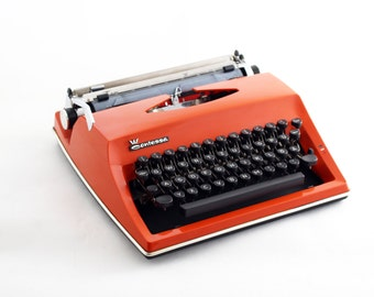 Vintage Typewriter, Orange Manual Typewriter , Contessa de Luxe Adler, Traveller Typewriter, Office Home Decor, Working Typewriter