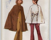 Unlined Cape With Collar And Lined Short Cape Front Button Closing Size 12 14 Jacket Or Coat Vintage Sewing Pattern 1971 Simplicity 9669