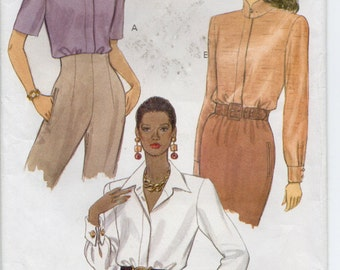 Loose Fittting Blouse With Concealed Button Closing And Collar Variations Size 8 10 12 Shirt Sewing Pattern 1992 Vogue 8515