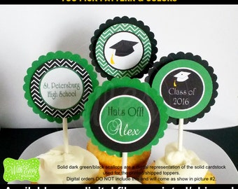 Graduation Party Circles - Graduation Cupcake Toppers - Custom Party Circles - Graduation Party Decor - Digital and Printed