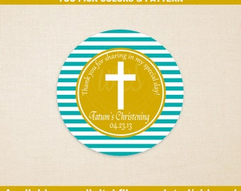 Christening Favor Stickers - Baptism Favor Stickers - Custom - Cross Stickers - Religious Stickers - Digital and Printed