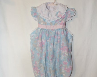 Vintage Little Girls Floral Pastel Print Jumpsuit with matching top Size 24 months