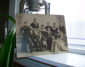Large Cabinet Card Photograph Victorian Family Antique 1800s 11.75 x 9 Inches