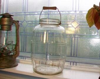 Large Vintage Pickle Jar Wooden Handle Duraglas General Store Jar
