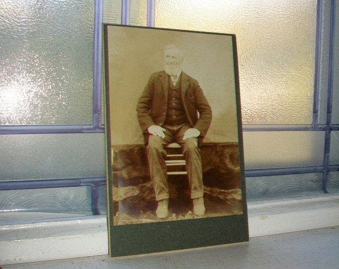 Antique Cabinet Card Photograph Old Man with Beard