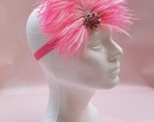 READY TO SHIP: Stretchy Feather Headband - Pink - Pink Flamingo Bird Costume Accessory - Frilly Flamingo - Fits toddler to adult
