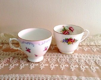 Mismatched Tea Cups Floral Pink Collectible Home and Kitchen Decor pretty Teacups Collection Teacup Flowers Floral Vintage Kitchen Victorian