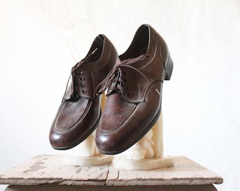 60's Chocolate Brown Lace Oxfords Sz 8
