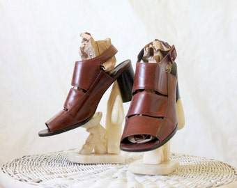 chocolate leather sandals/ 9.5 - see condition