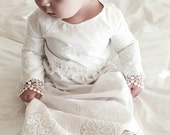 Christening gown baby girl Heirloom style  embroidery monogramed