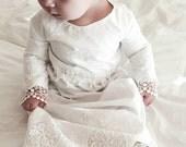 Baptism Dress - baby girl Christening Dress - Baptism Lace Dress - Baptism Gown - Christening Gown - Heirloom design --A6535