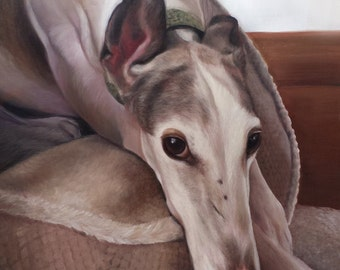 CUSTOM PET PORTRAITS - Greyhound - Pet Oil Painting Dog Portrait - 8x10