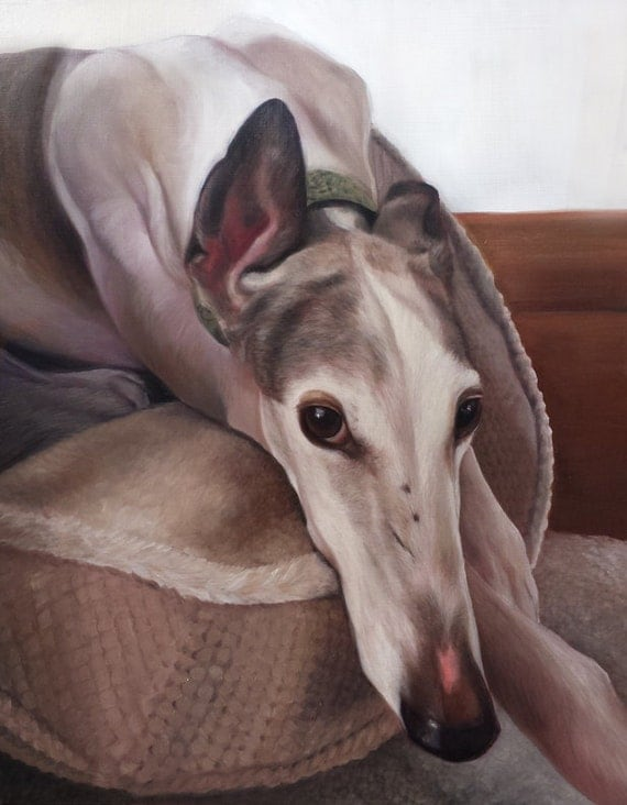 CUSTOM PET PORTRAITS - Custom Pet Painting - Greyhound - Pet Oil Painting - Dog Portrait